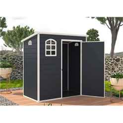 6 x 3 Plastic Pent Shed - Dark Grey with Foundation Kit (included)