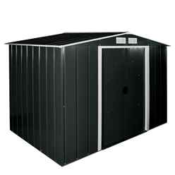 8 x 6 Heavy Duty Apex Metal Shed - Anthracite Grey