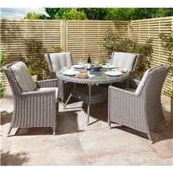 4 Seater Natural Stone Rattan Weave Dining Set