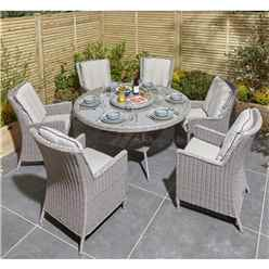 6 Seater Natural Stone Rattan Weave Dining Set