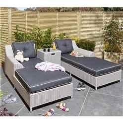 2 Seater Putty Grey Rattan Weave Garden Lounger Set