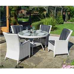 4 Seater Putty Grey Rattan Weave Dining Set