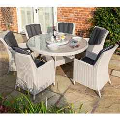 6 Seater Natural Putty Grey Weave Dining Set