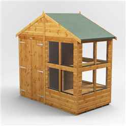 4 x 8 Premium Tongue and Groove Apex Potting Shed - Double Door - 12 Windows - 12mm Tongue and Groove Floor and Roof