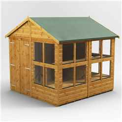 8 x 8 Premium Tongue and Groove Apex Potting Shed - Double Door - 16 Windows - 12mm Tongue and Groove Floor and Roof