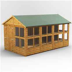 14 x 8 Premium Tongue and Groove Apex Potting Shed - Double Door - 22 Windows - 12mm Tongue and Groove Floor and Roof