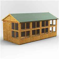 16 x 8 Premium Tongue and Groove Apex Potting Shed - Double Door - 24 Windows - 12mm Tongue and Groove Floor and Roof