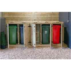 Quintet Redwood Pressure Treated Wheelie Bin Store - 140 Litre Bins