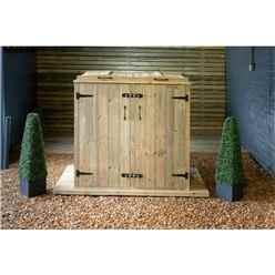 Double Redwood Pressure Treated Wheelie Bin Store - 240/140 Litre Bins