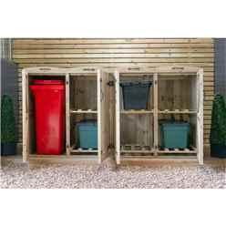 Wheelie Bin And Recycling Box Triple Chest Store - 1 x Wheelie Bin + 6 x Recycling Boxes