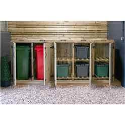 Wheelie Bin And Recycling Box Triple Chest Store - 2 x Wheelie Bin + 6 x Recycling Boxes