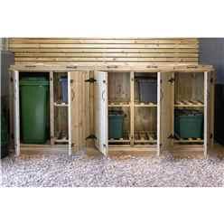 Wheelie Bin And Recycling Box Triple Chest Store - 3 x Wheelie Bin + 4 x Recycling Boxes