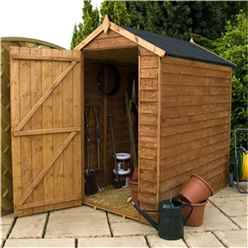 6 x 4 Windowless Value Overlap Apex Wooden Shed with Single Door (10mm Solid OSB Floor) - 48HR + SAT Delivery*