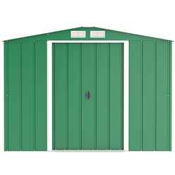 8 x 8 Value Apex Metal Shed - Green (2.62m x 2.42m)