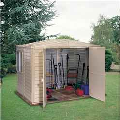 **PRE-ORDER: DUE BACK IN STOCK 21ST AUGUST** 8 x 10 Deluxe Duramax Plastic PVC Shed With Steel Frame (3.04m x 2.43m)