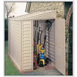 **PRE-ORDER: DUE BACK IN STOCK 21ST AUGUST** 4 x 8 Deluxe Duramax Plastic Sidemate PVC Shed With Steel Frame (1.21m x 2.39m)