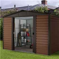 "7ft 5"" x 6ft 1"" Woodgrain Metal Shed + Free Anchor Kit  (2.26m x 1.86m)"