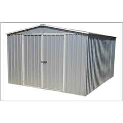 "**PRE-ORDER: DUE BACK IN STOCK 09TH NOVEMBER** 9' 10"" x 12'  Premier Regent Zinc Metal Garden Shed (3m x 3.66m)"