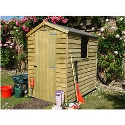 6 x 4 (1.86m x 1.19m) - Overlap Pressure Treated - Apex Garden Shed - 1 Window - Single Door - 9mm Solid ODB Floor