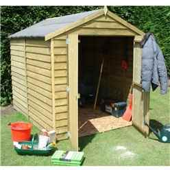 8 x 6 (2.38m x 1.79m) - Overlap Pressure Treated - Apex Garden Shed - Windowless - Double Doors -11mm Solid OSB Floor