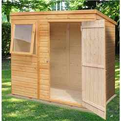 6 x 4 (1.16m x 1.77m) - Tongue And Groove - Pent Garden Shed / Workshop - 1 Opening Window - Single Door - 12mm  Tongue + Groove Floor