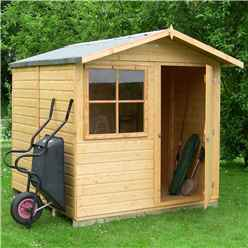 7 x 7 (2.05m x 1.98m) - Stowe Tongue & Groove - Apex Garden Shed / Workshop - 1 Window - Single Door - 12mm Tongue and Groove Floor