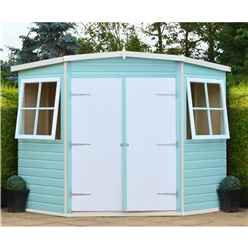 8 x 8 (2.25m x 2.25m) -  Tongue & Groove - Corner Pent Shed / Workshop - 2 Opening Windows - Double Doors - 12mm T&G Floor