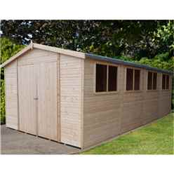 20 x 10 (5.99m x 2.99m) - Tongue & Groove - Garden Shed / Workshop - 6 Windows - Double - 12mm Tongue and Groove Floor and Roof