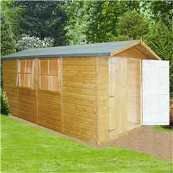 13 x 7 (4.03m x 1.98m) - Tongue & Groove Pressure Treated -  Apex Shed - 3 Windows - Double Doors - 12mm T&G Floor