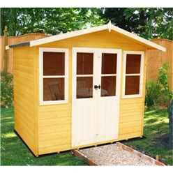 7 x 5 (2.05m x 1.62m)  - Premier Wooden Summerhouse - Central Double Doors - 12mm T&G Walls & Floor (Show Site)