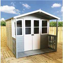 7 x 7 (2.05m x 1.55m) -  Premier Wooden Summerhouse - Double Doors - Side Windows - 12mm T&G Walls & Floor