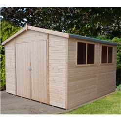 10 x 10 (2.99m x 2.99m) - Tongue & Groove - Garden Shed / Workshop - 6 Windows - Double Doors - 12mm Tongue and Groove Floor