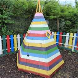 7 x 6 (2.11m x 1.77m)  - Wooden Wigwam Playhouse