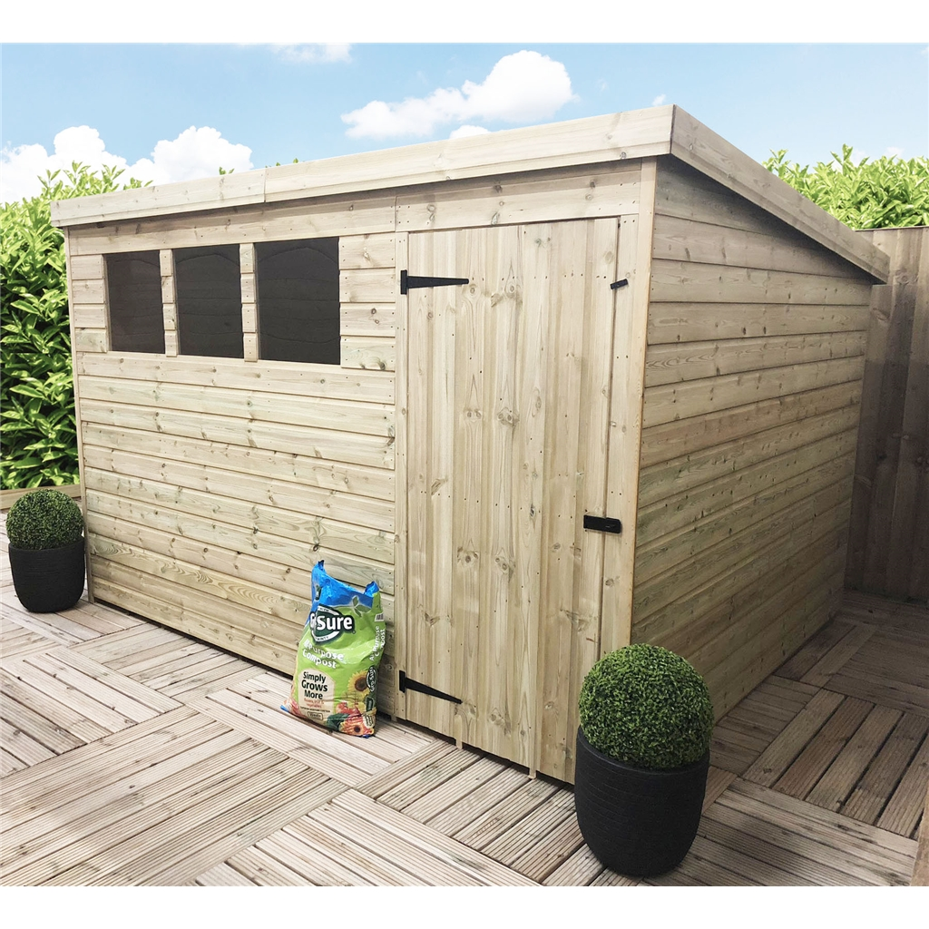 Absco X Spacesaver Green Metal Shed Open Door Garden Sheds