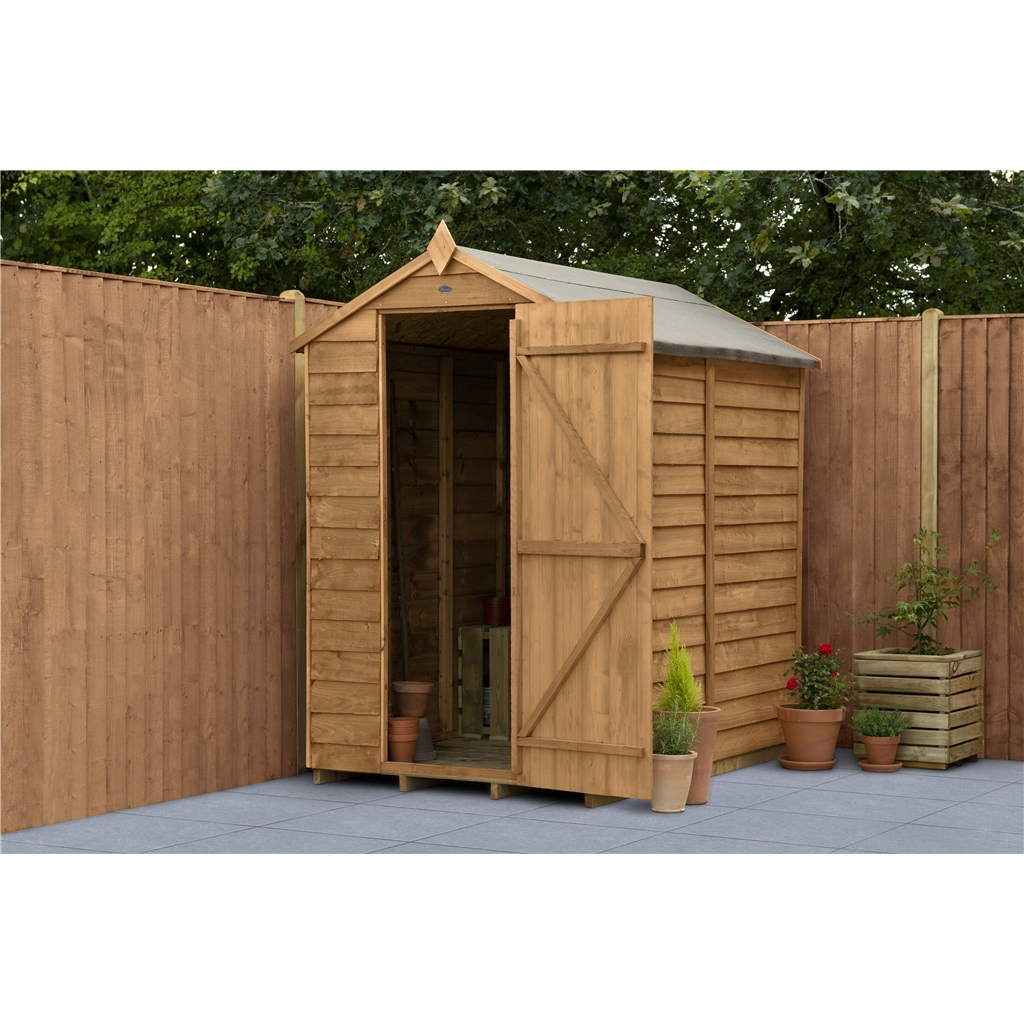 6 x 4 security overlap apex garden shed assembled for Apex garden sheds