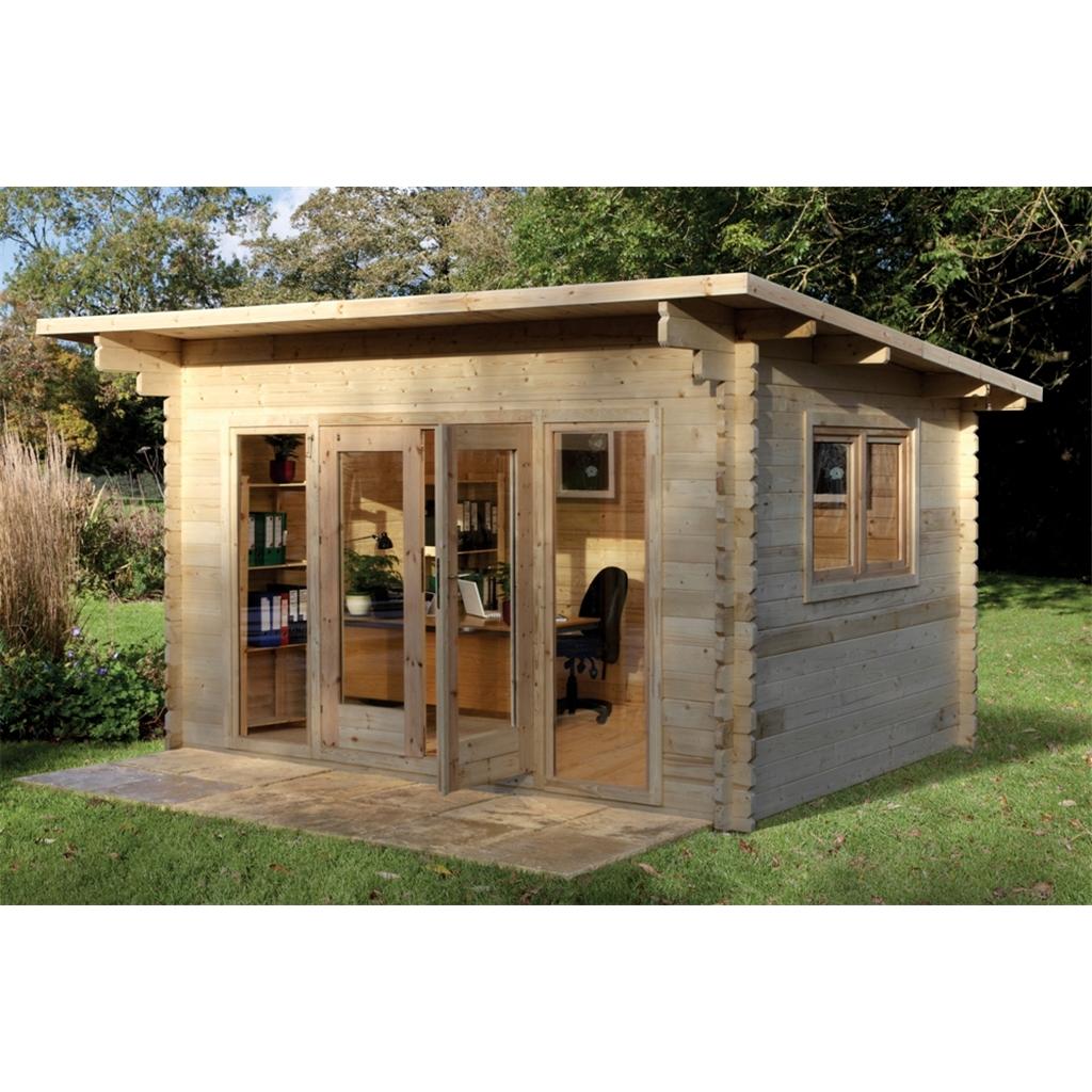 40m X 30m Stylish Log Cabin With Glazed Double Doors Installed