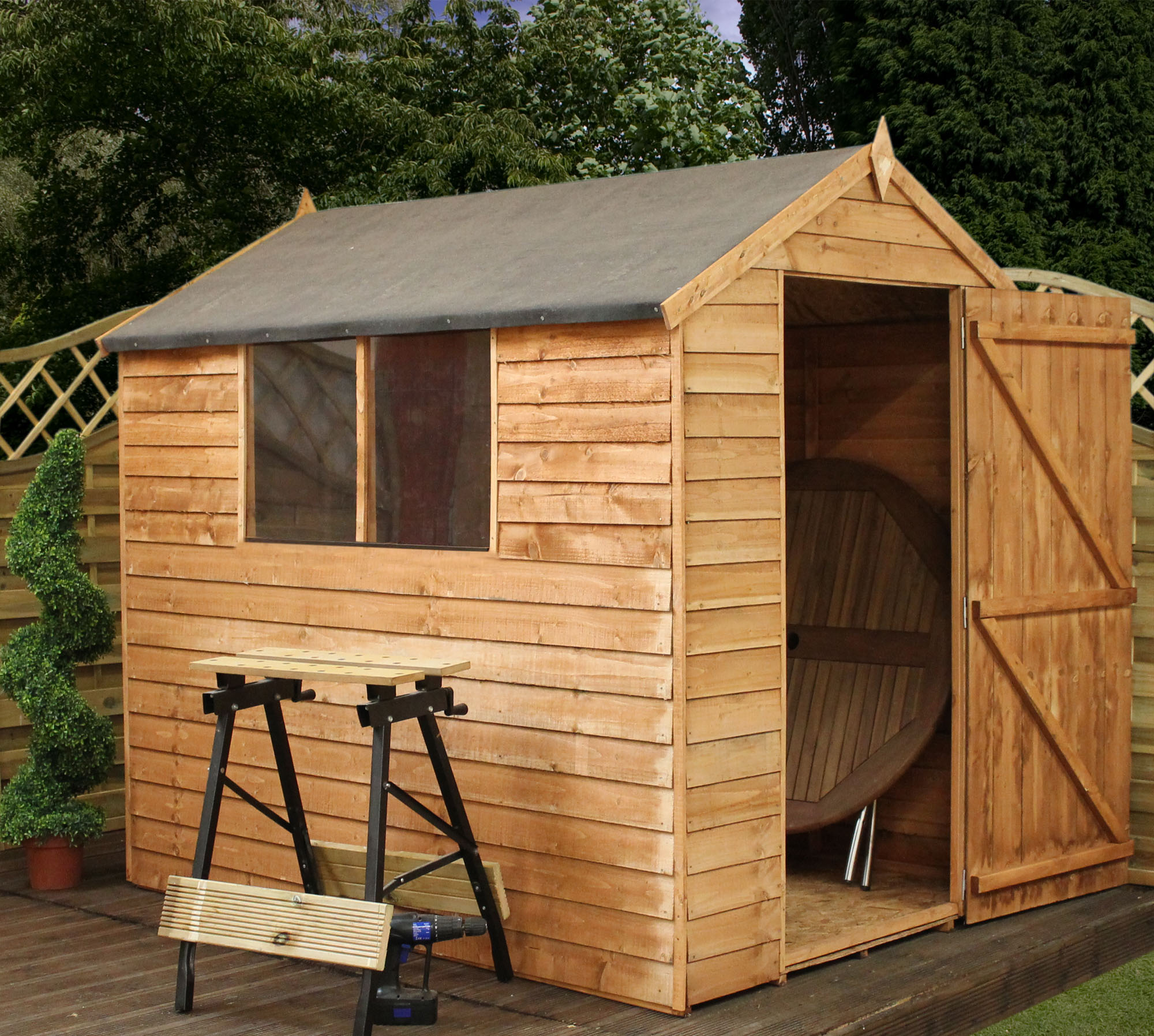 escape installed 7 x 5 value overlap apex wooden shed with 2 windows and single door 10mm solid osb floor includes installation - Garden Sheds 7ft X 5ft
