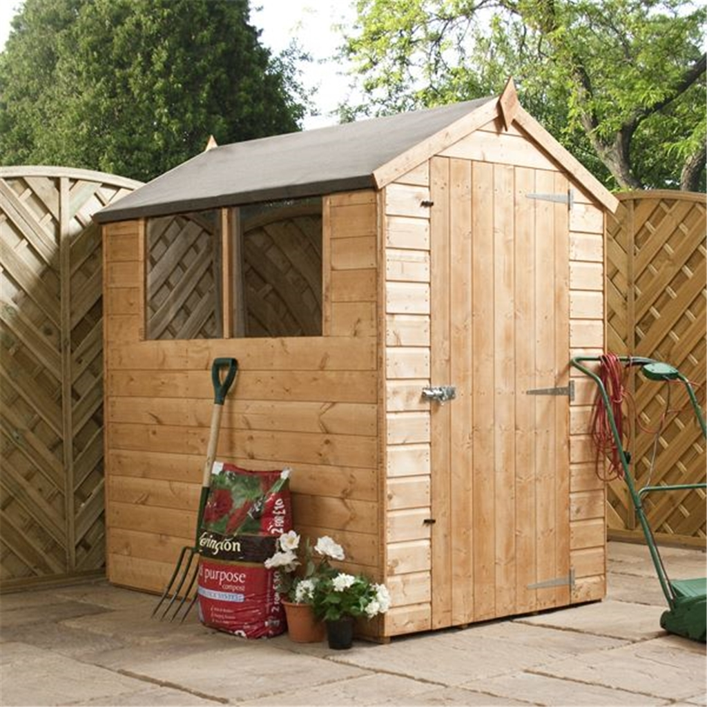 Installed 6 x 4 tongue and groove apex wooden shed for Garden shed installation