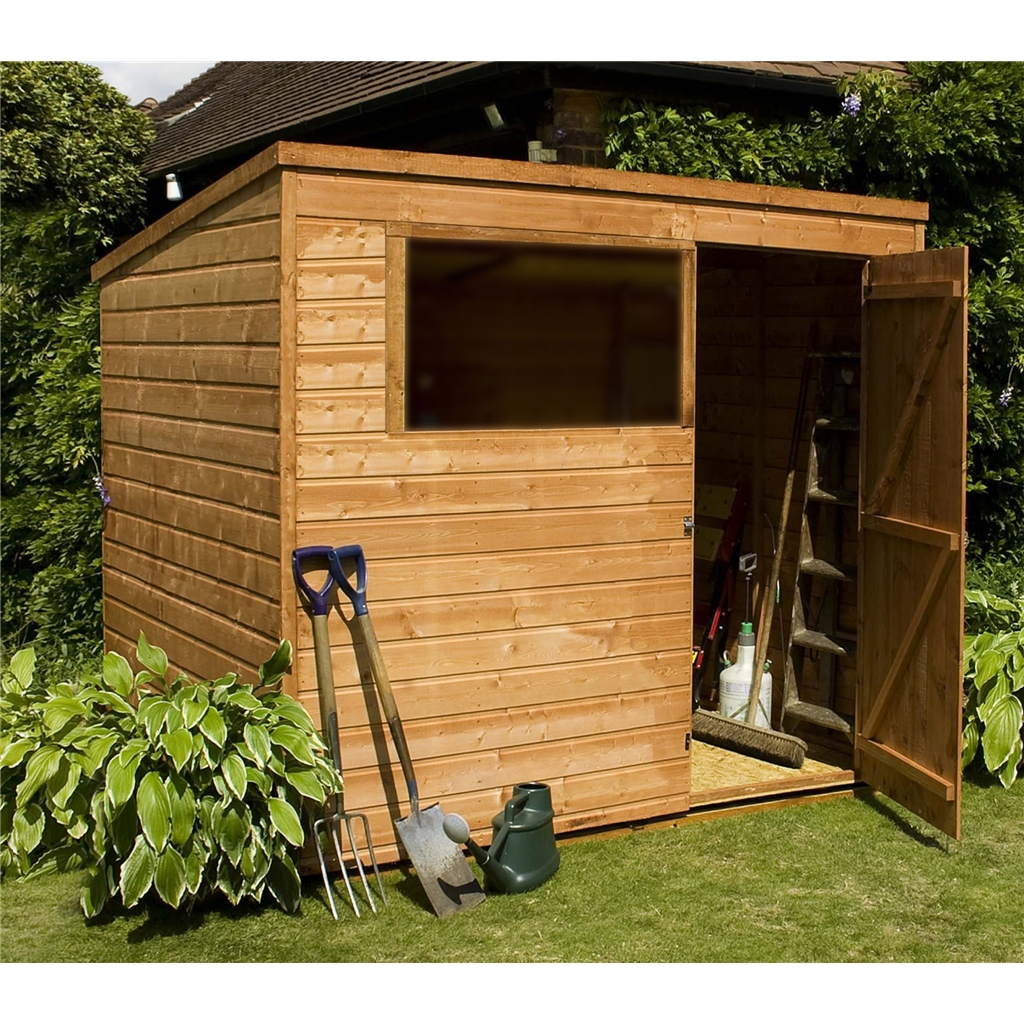 Installed 8 x 6 wooden garden pent shed includes for Garden shed installation