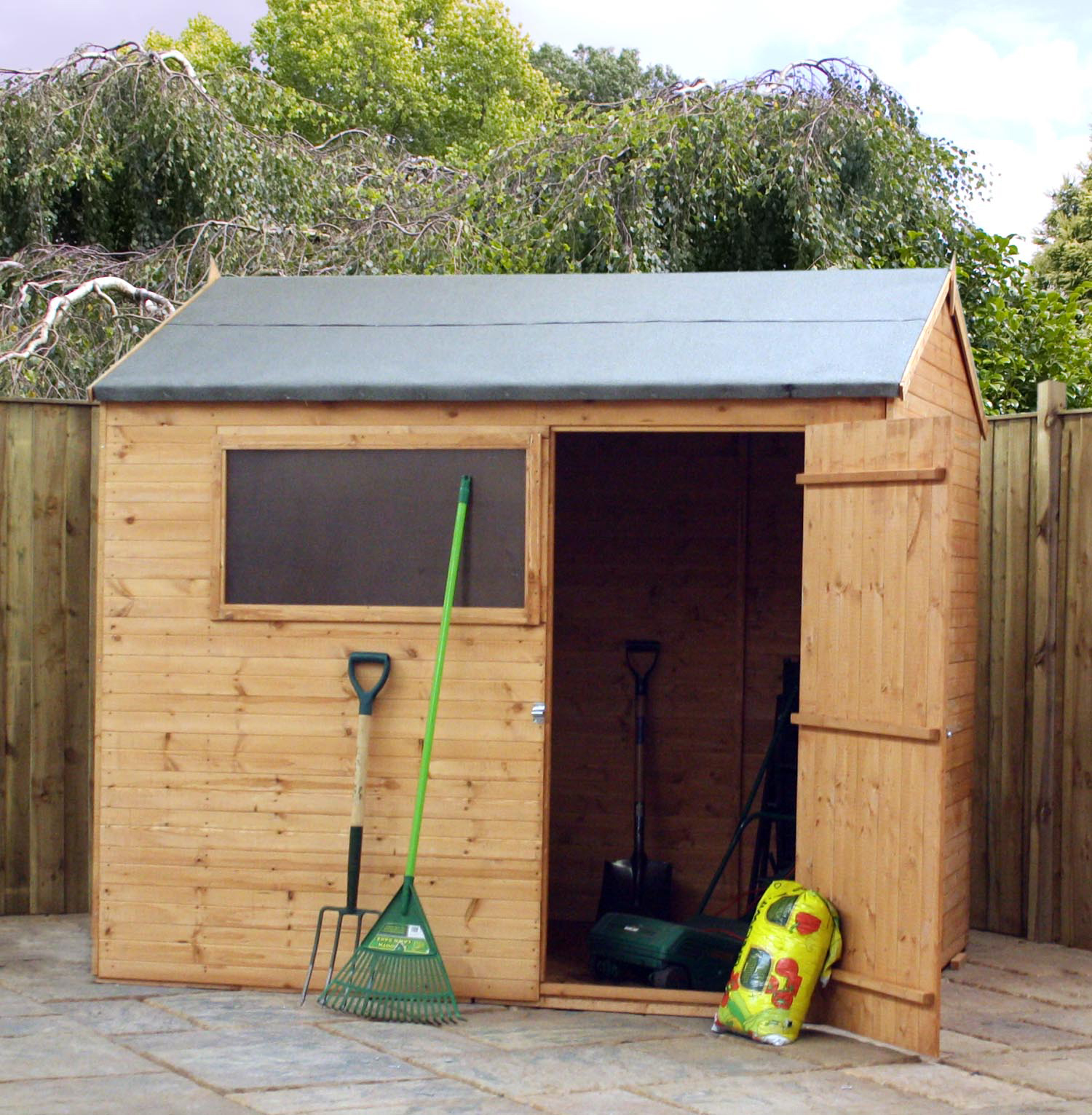 Installed 6 x 8 wooden reverse apex garden shed includes for Garden shed installation