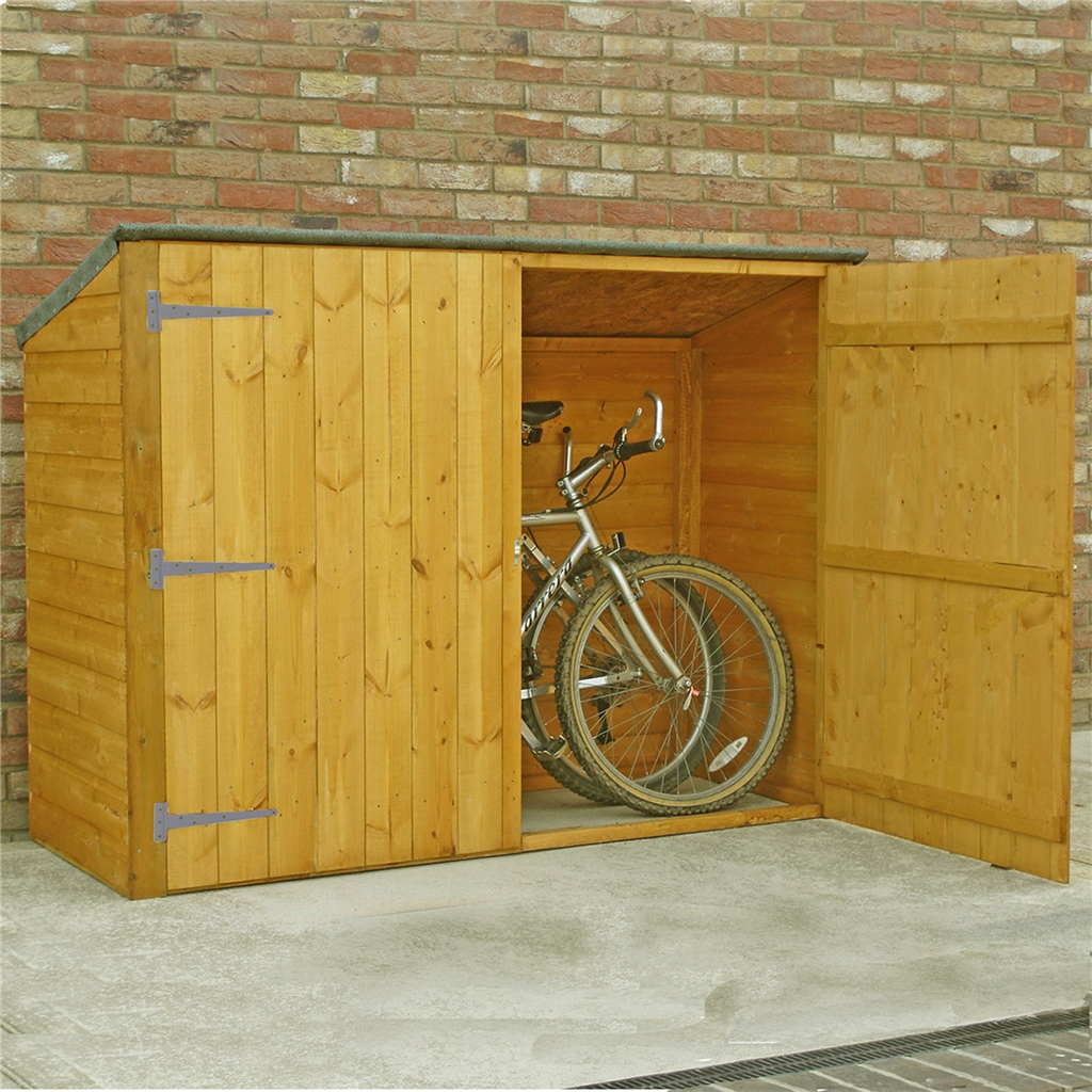 6 X 2 Pent Wooden Bike Store